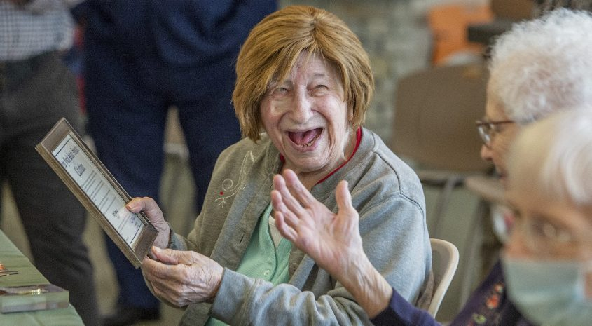 Mary Pomato, left, who willturn 101 on the Friday, shares a laugh with Mary Reber, who turned 102 on Tuesday, as they celebrate National Centenaries Day at the Glendale Home in Glenville on Wednesday.