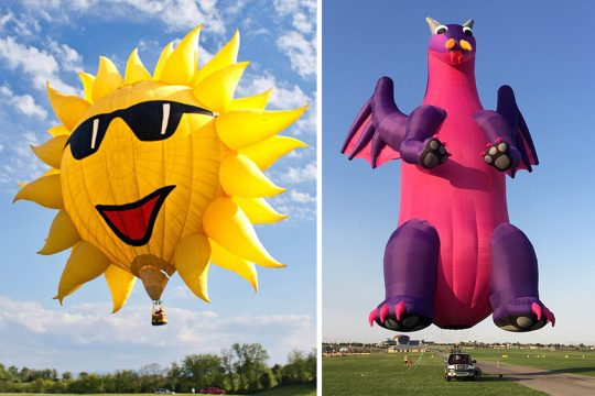 Sunny Boy -- inspired by Earth's brightest, hottest light -- will fly at this weekend's Adirondack Balloon Festival. Dragon will also lift off. (Photos provided)