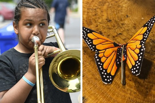 Julian Stackhouseof Schenectady plays the trombone at the Kids Art Festival near City Hall on June 1, 2019. At right, an origami butterfly with bobby pin, a planned project for kids at this year's event. (file and provided photos)