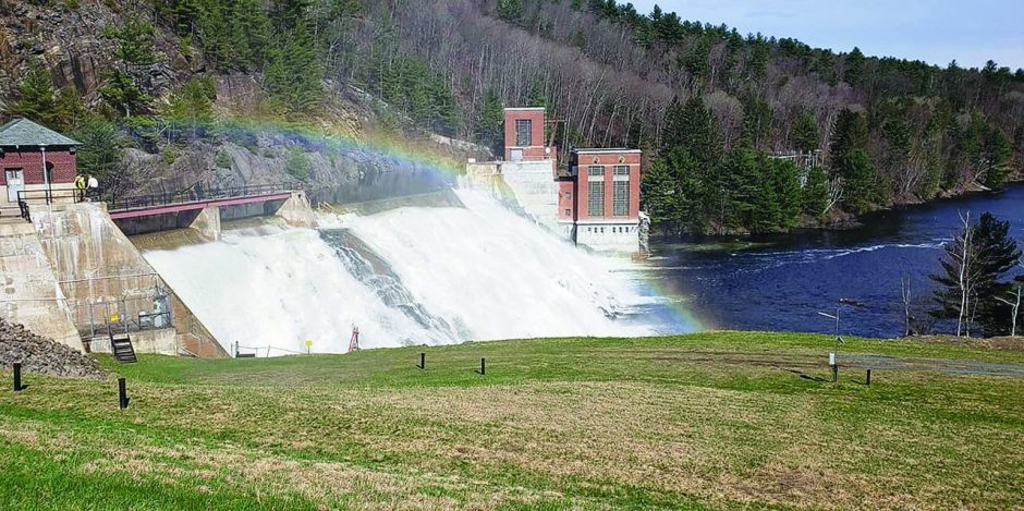 In April 2019, water pours over the spillway at the Conklingville Dam in Hadley, which forms the Great Sacandaga Lake.