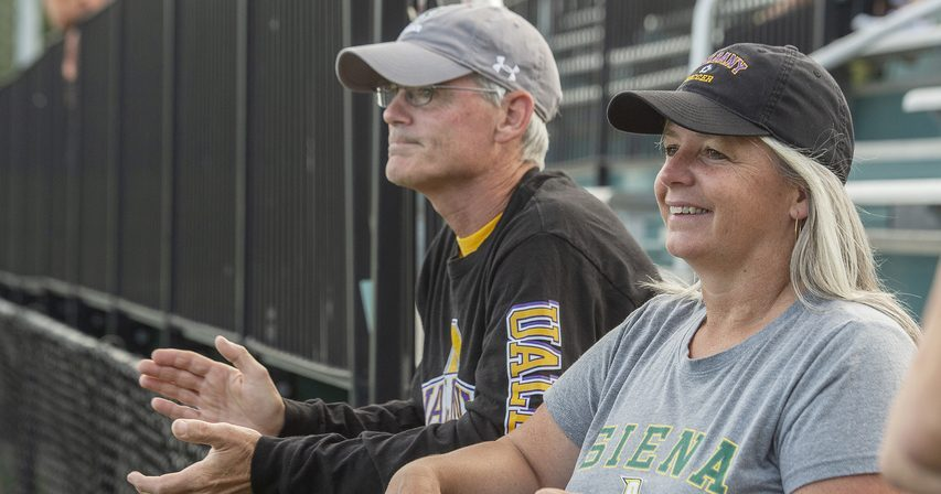 John and Marie Krohn of Schoharie watch Wednesday's women's soccer game between Siena and UAlbany. Their daughter Carrie plays for Siena, and daughter Megan is a freshman on the UAlbany team.