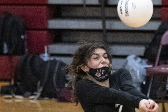 Gabby Correra of Notre Dame-Bishop Gibbons returns the ball during a girls' volleyball match against Mekeel Christian Academy on Wednesday at Notre Dame-Bishop Gibbons High School.