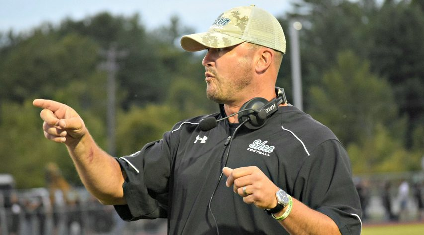 Shenendehowa head coach Brian Clawson gestures during a Section II football game between Shenendehowa and Bethlehem on Friday, Sept. 6, 2019 in Delmar.