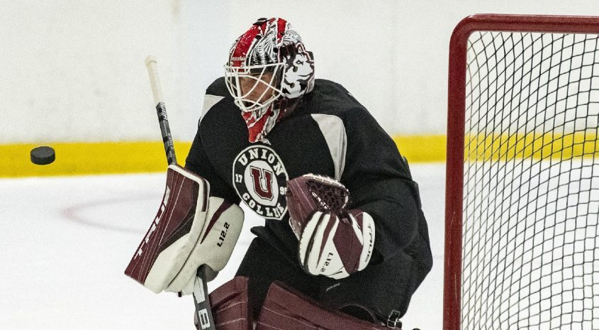 Union goaltender Connor Murphy stops a shot during practice Thursday at Messa Rink.