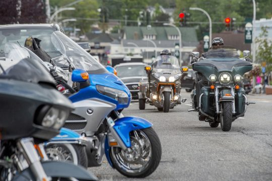 Bikers make their way up and down Canada Street during the 2021 Americade in Lake George on Thursday, September 23, 2021.