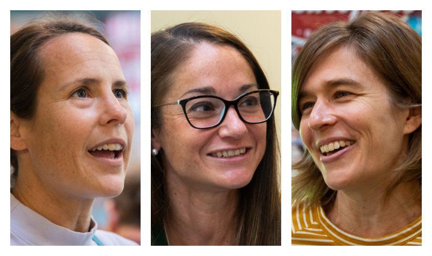 From left, Aroline Hanson of Sunderland, Vermont, Karen Bertasso-Hughes of Selkirk, and Kelly Allen of Washington, D.C. are accomplished marathoners competing in Saturday's Freihofer's Run for Women.