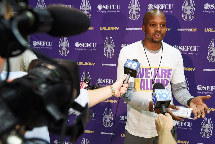 UAlbany men's basketball head coach Dwayne Killings is shown at SEFCU Arena in Albany on Monday, July 6, 2021.
