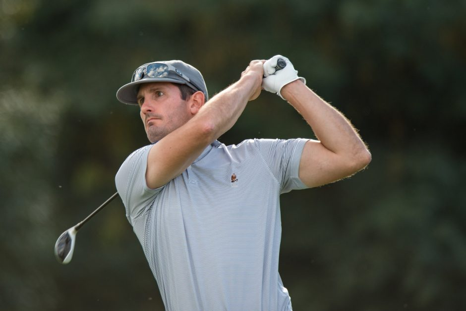 Ryan Foster of Schuyler Meadows Club shot a 2-under-par 69 to share the soggy first-round lead at the NYS Men's Mid-Amateur Championship Friday at Shaker Ridge CC. (NYSGA photo)