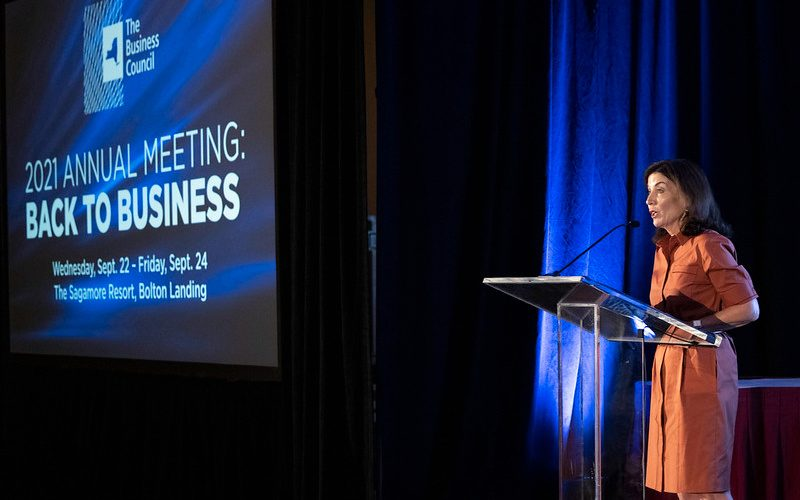 Gov. Kathy Hochul speaks at the Business Council of New York State's annual meeting in Bolton Landing on Friday. (Photo provided by Governor's Office)