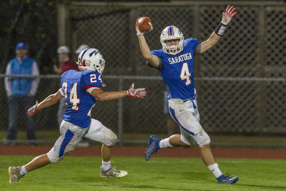 Saratoga's Chris Youngs celebrates his touchdown during a high school football game against Schenectady at SSHS on Friday, September 24, 2021.