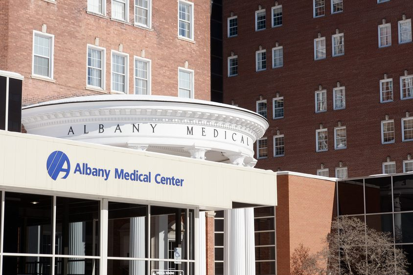 Albany Medical Center is shown in February 2021. The facility is facing the loss of a few hundred unvaccinated employees starting Tuesday, Sept. 28, 2021.