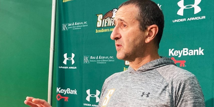 Siena head coach Jim Jabir meets with area reporters before Tuesday's practice in Loudonville.