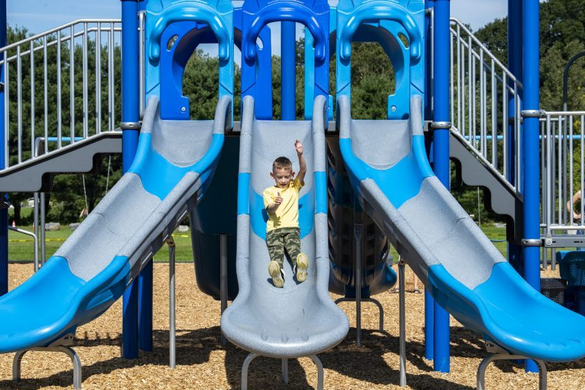 Jaxson Prudhomme, 6, of Rotterdam takes a ride down the slide at the new playground at Maalwyck Park in Glenville onSept. 25, 2021.
