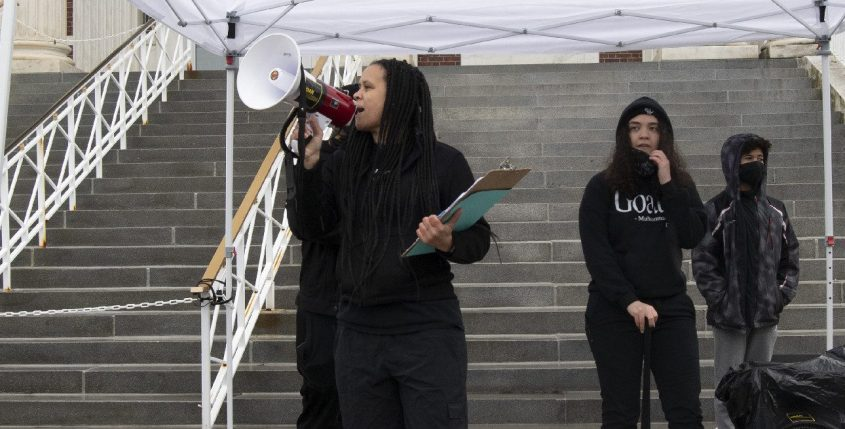 Jamaica Miles speaks at a rally in front of City Hall in Schenectady on April 1, 2021.