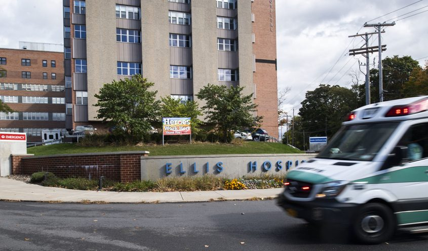 Ellis Hospital in Schenectady is shown in a 2020 file photo. The facility has not cut hours or services offered.
