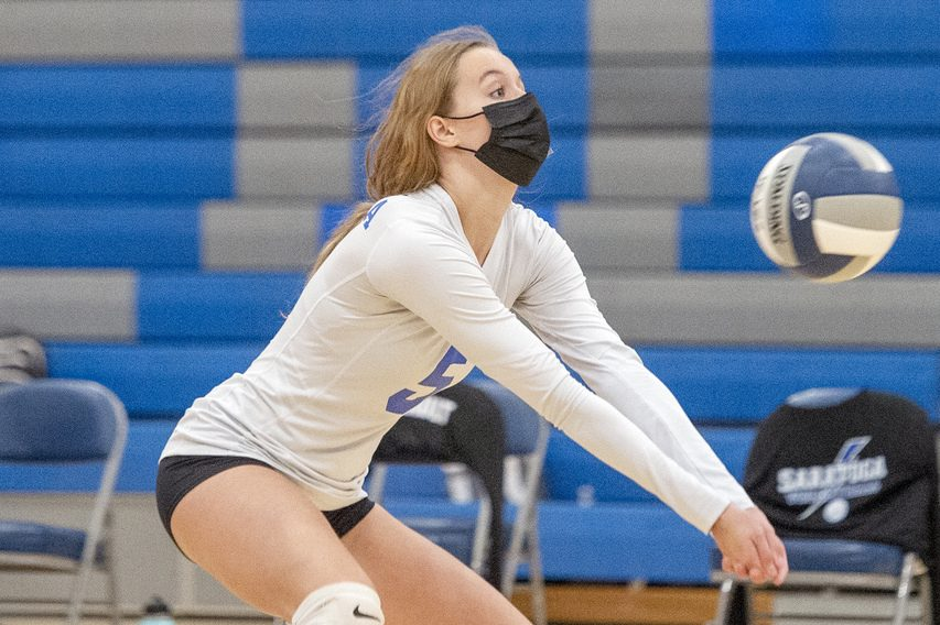 Saratoga's Noelle Slye hits the ball during a high school volleyball match against Columbia in Saratoga Springs on Tuesday, September 28, 2021.
