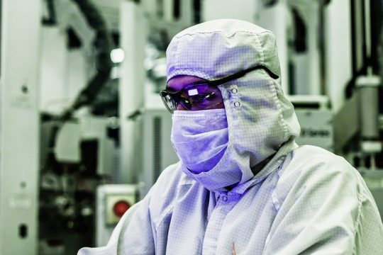 PHOTO PROVIDEDAn employee works in the cleanroom at GlobalFoundries' Fab 8 compputer chip foundry in Malta.