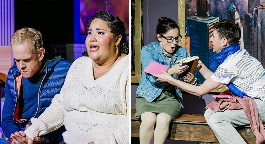 """Left: Michael Camelo as Jason and Dashira Cortes as Claire in the SLOC production of """"Ordinary Days."""" Right: Christine Meglino as Deb and Nik Gatz as Warren. (Courtesy Carlton media Productions)"""
