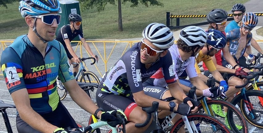 Curtis White, center, gets ready to start the Virginia's Blue Ridge Go Cross cyclocross race in Roanoke, Virginia, on Sept. 18.