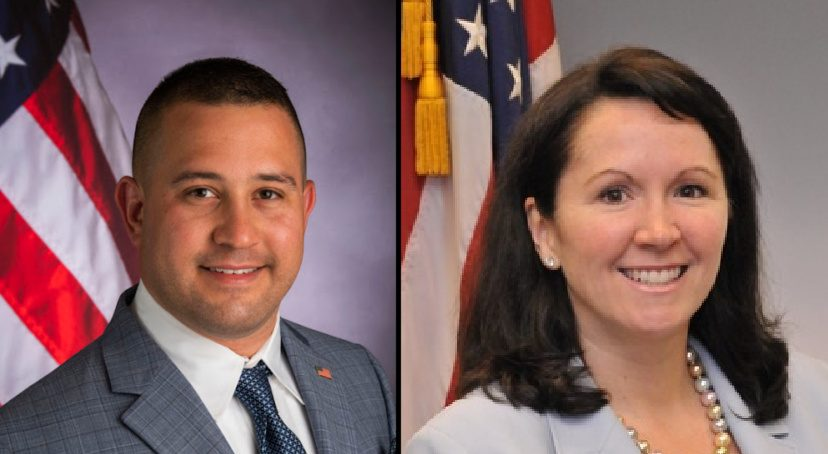Resident and town board candidate Jason Moskowitz, left, filed an ethics complaint against town board member Denise Murphy McGraw, right