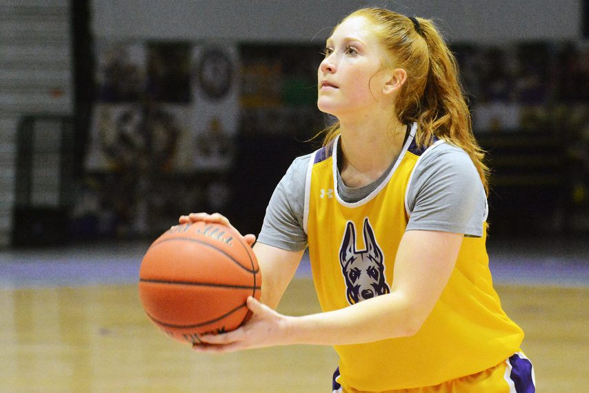 Grace Heeps readies to take a free throw during a Tuesday, September 29, 2021 UAlbany women's basketball practice at SEFCU Arena in Albany. (Michael Kelly/The Daily Gazette)