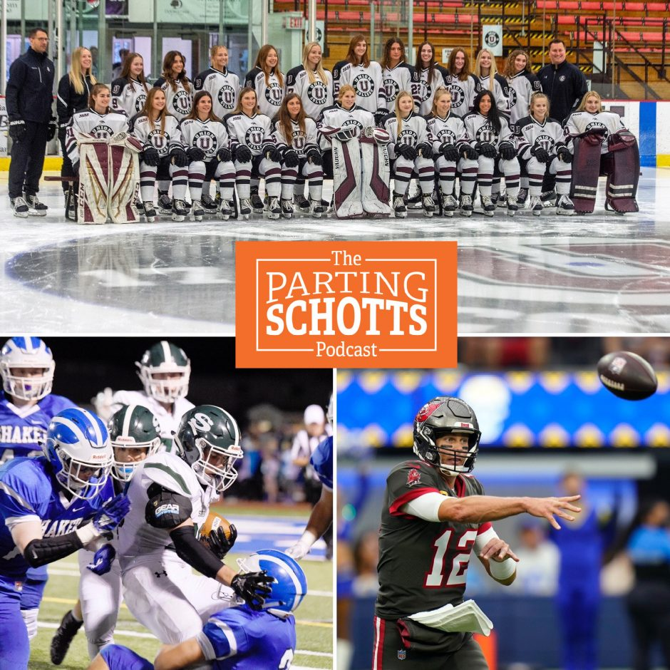 Union women's hockey, high school football and the return of Tom Brady to New England on Sunday are the topics on 'The Parting Schotts Podcast.' (Union and high school photos by the Gazette's Erica Miller; Brady photo by The Associated Press' Jae C. Hong)