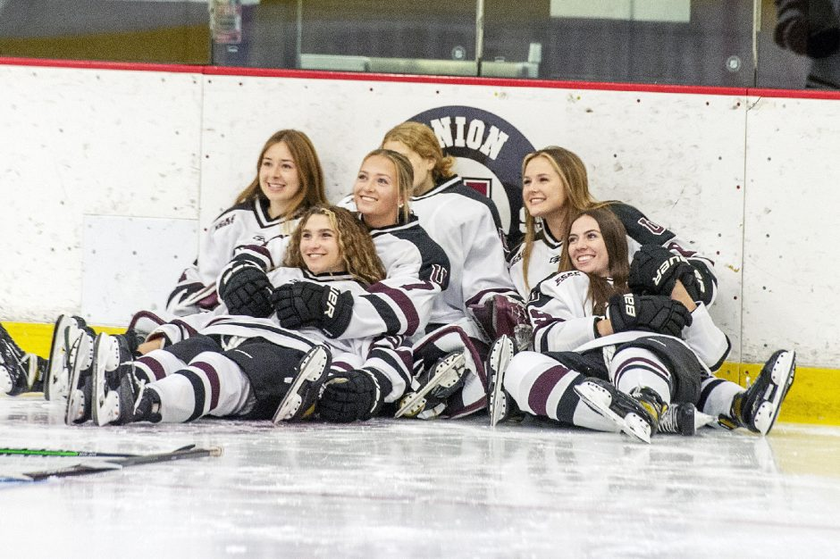 Union College women's hockey players pose together on media day Wednesday atMessa Rink.