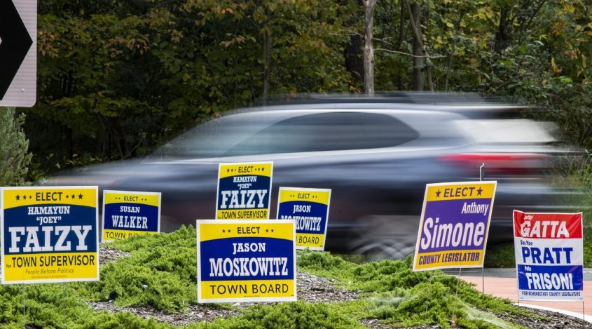 Campaign signs at the Rosendale and River roads round about in Niskayuna Thursday, September 30, 2021.