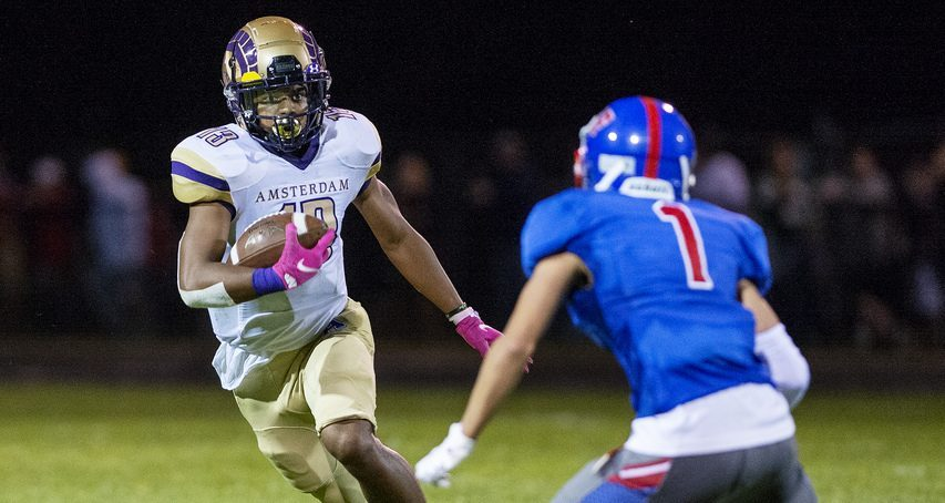Ceasar Thompson (left) and Amsterdam are among eight remaining unbeaten teams in Section II high school football.