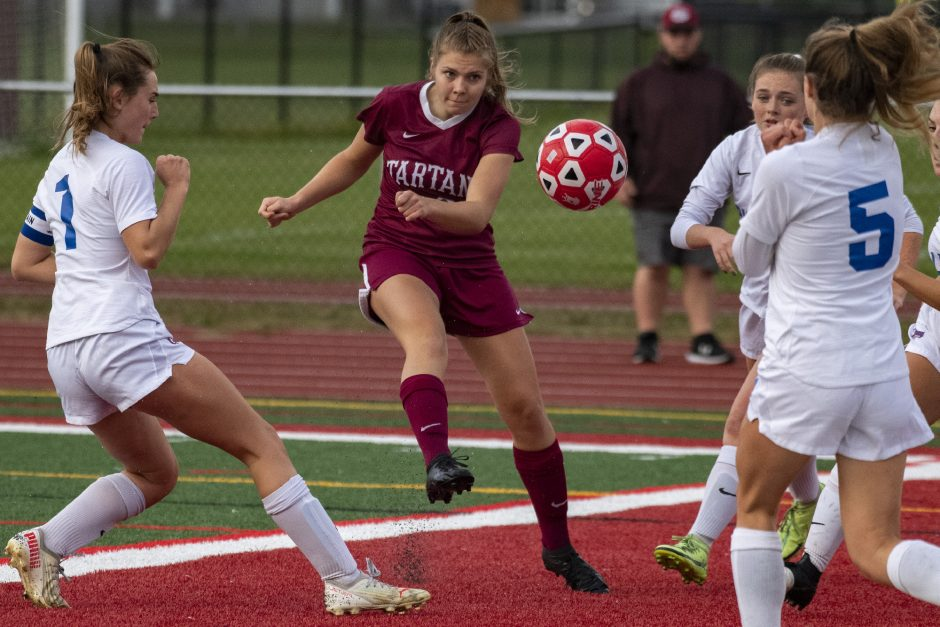 Scotia-Glenville's Morgan Nichter scores the second goal of the game between Sydney Blake, left, and Rori Novack of South Glens Falls on Thursday.