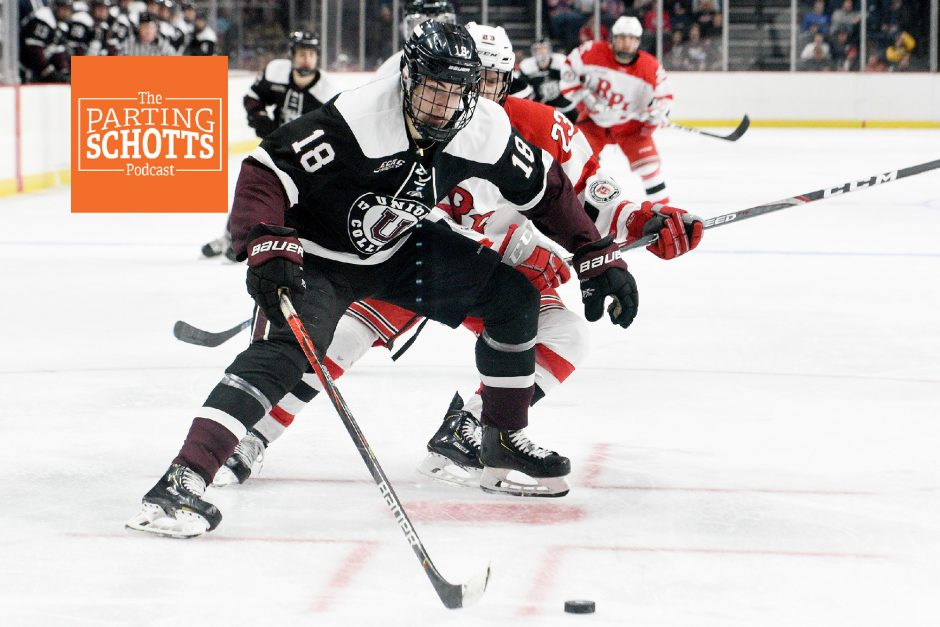 Union's Gabriel Seger with the puck against RPI's Jake Johnson during the Mayor's Cup on Jan. 25, 2020, at Times Union Center.