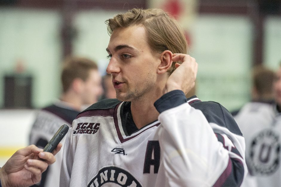 Union College men's hockey player Gabriel Seger speaks to media members Wednesday's atMessa Rink.