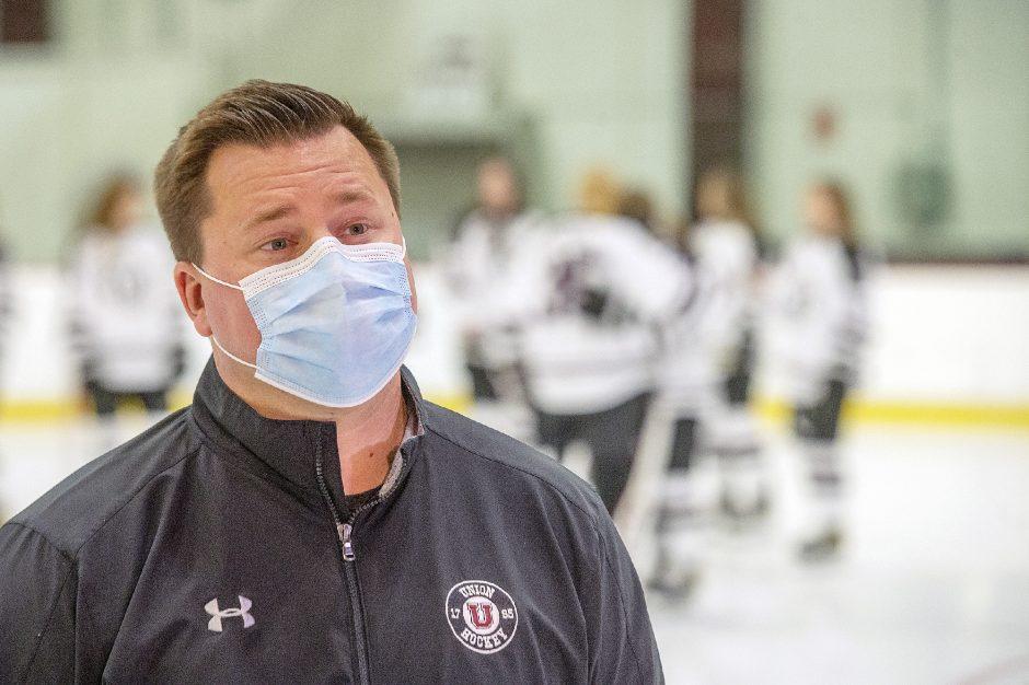 Union College women's hockey head coach Josh Sciba saw his team score six third-period goals Friday to beat RIT 7-4 in the Dutchwomen's season-opener in Rochester.