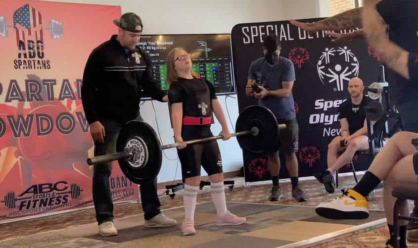 Cayleigh Moorhead of Glenville deadlifts during the Special Olympics New York Powerlifting Teams 3rd Annual Spartan Showdown in Latham Saturday.