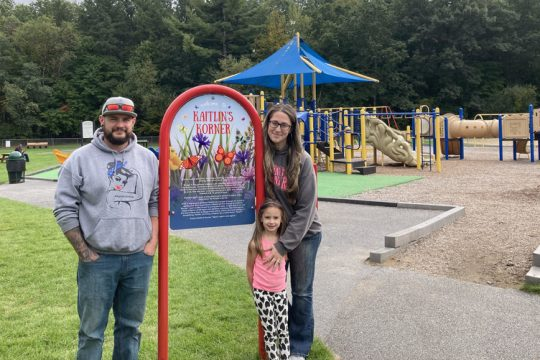 Becky Manning, right, stands with her daughter, Elizabeth Manning, and husband Jeff Manning at Kaitlin's Corner, an inclusive playground at Gavin Park in Wilton.