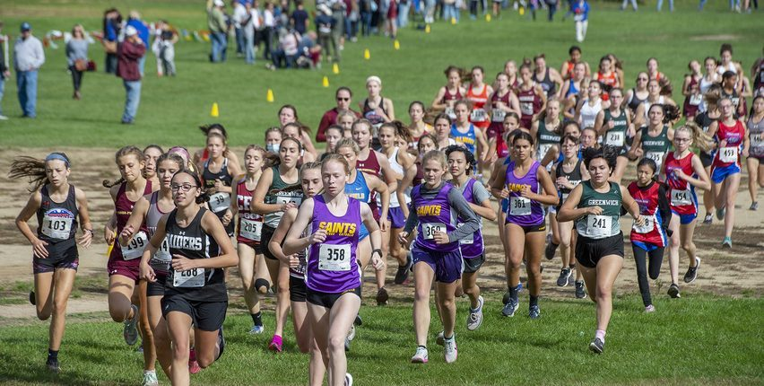 the start of the girls' Class C race at the annual Grout Invitational in Central Park in Schenectady on Saturday, October 2, 2021.