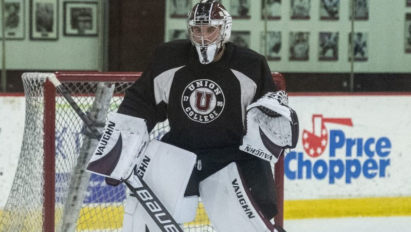 Union goalie Garrett Nieto works out during a Sept. 23 practice at Messa Rink.