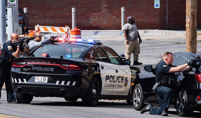 Police at the scene Thursday