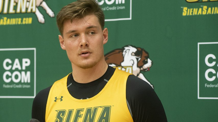 Siena's Jackson Stormo talks to the media prior to the first day of Siena men's basketball practice on Monday, Oct. 4, 2021.
