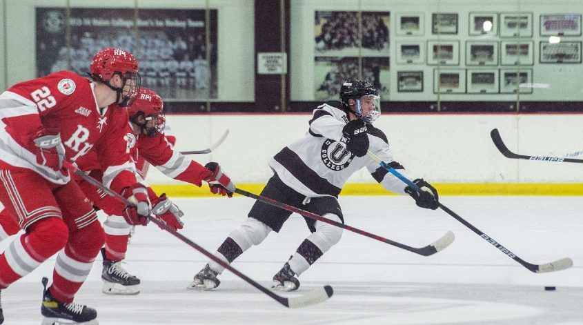 Union's Dylan Anhorn with the puck against RPI during last Saturday's men's hockey exhibition game at Messa Rink.