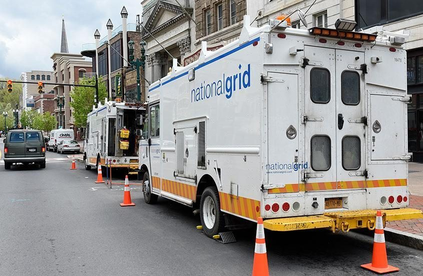 A National Grid truck in Schenectady in 2017.