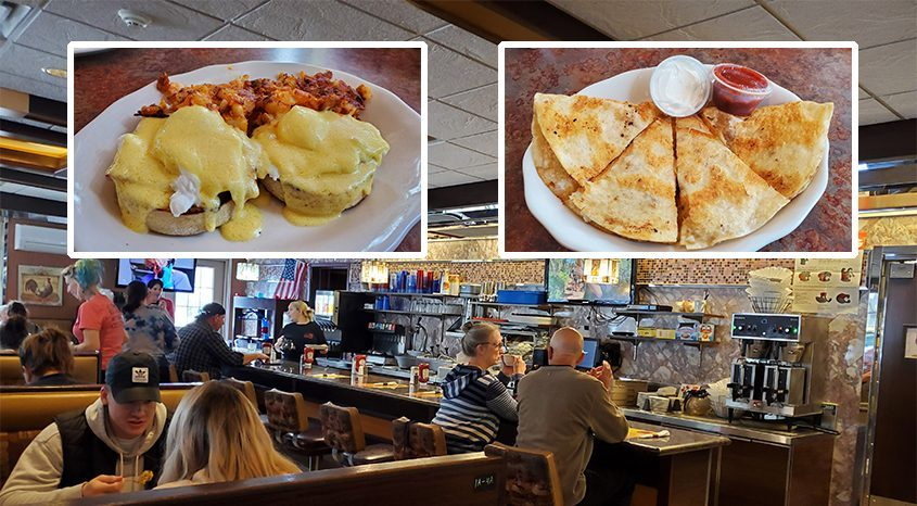 It still feels very much like a diner inside the Ugly Rooster Cafe at the former Malta Diner location on Route 9. Inset from left: Eggs Benedict with home fries and chicken quesadilla. (Caroline Lee)