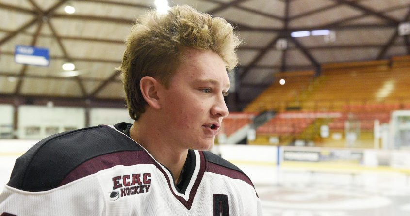 Union College defenseman Dylan Anhorn scored a goal in the Dutchmen's 3-2 loss to New Hampshire on Saturday.