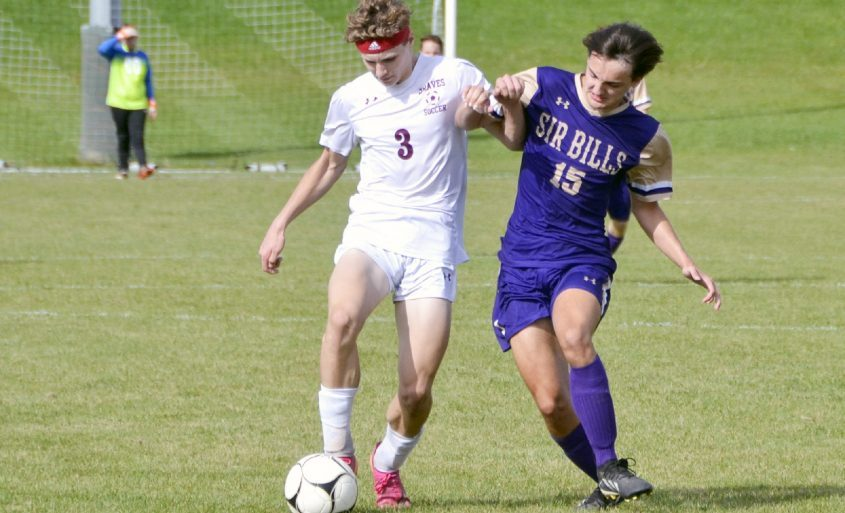 Fonda-Fultonville's Allen Booth (3) battles Johnstown's Jayden Elston (15) for possession during Monday's non-league contest at Johnstown High School. (Paul Wager)