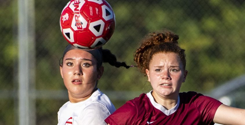 Scotia-Glenville's Skyler O'Malley and Broadalbin-Perth's Mianna Barboza go after the loose ball during Tuesday's Foothills Council girls' soccer game.