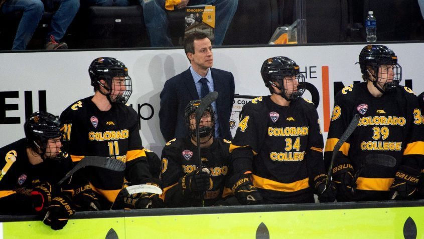 Colorado College head coach and former Union College goalie Kris Mayotte watches the action in last Saturday's game against St. Lawrence at Robson Arena in ColoradoSprings, Colo. Mayotte returns to Union this weekend as his Tigers face the Dutchmen. (Colorado College Athletics photo)