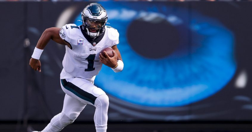 Philadelphia Eagles quarterback Jalen Hurts runs against the Carolina Panthers during the second half of last Sunday's game in Charlotte, N.C. (Nell Redmond/The Associated Press)