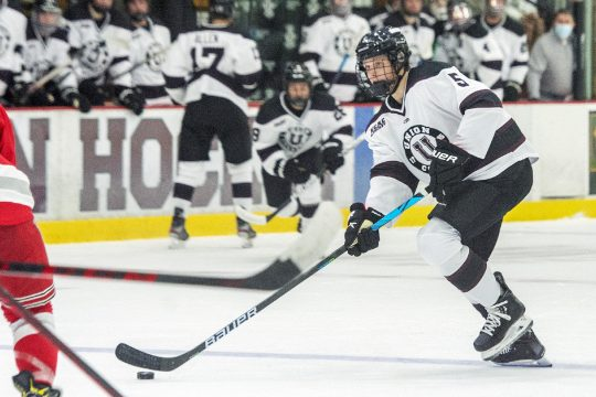 Union's Nic Petruolo with the puck against RPI's during an exhibition game Oct. 2 at Messa Rink.