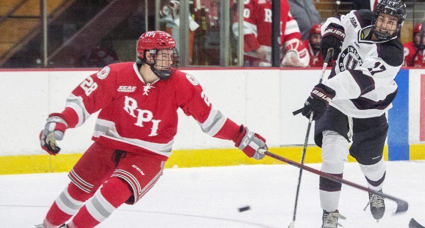 Union's Matt Allen takes a shot against RPI's Kyle Hallbauer during their men's college hockey exhibition game Oct. 2 at Messa Rink.
