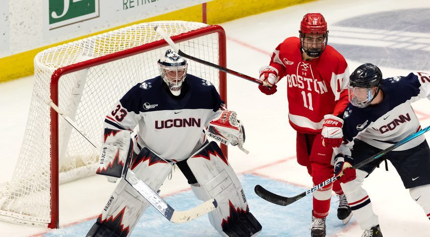Former Union College goalie Darion Hanson, now at UConn, tracks the action during a game against Boston University last weekend. (UConn Athletic Communications Photo)